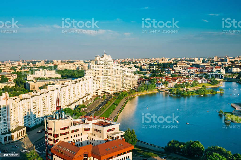 Aerial view, cityscape of Minsk, Belarus stock photo
