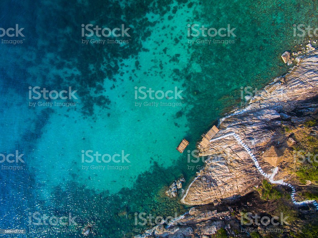 Aerial view coast Koh Phangan Thailand stock photo
