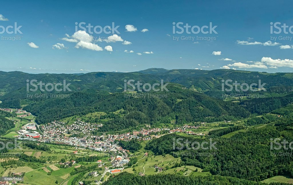 Aerial view community in the Black Forest stock photo