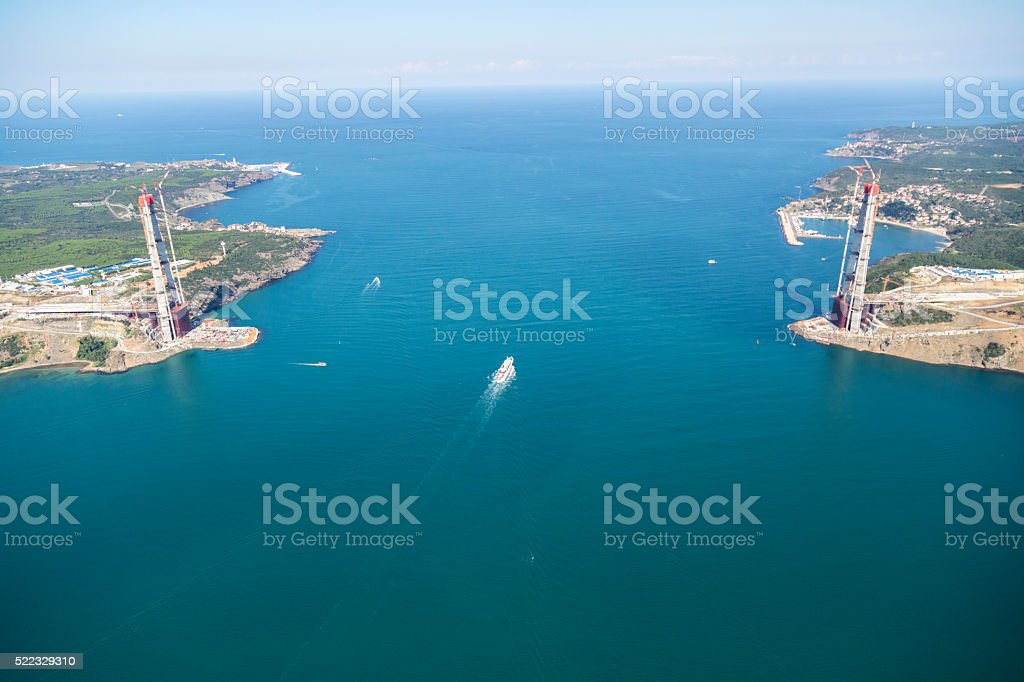 Aerial View Construction of the third bridge on Bosporus,Istanbul stock photo