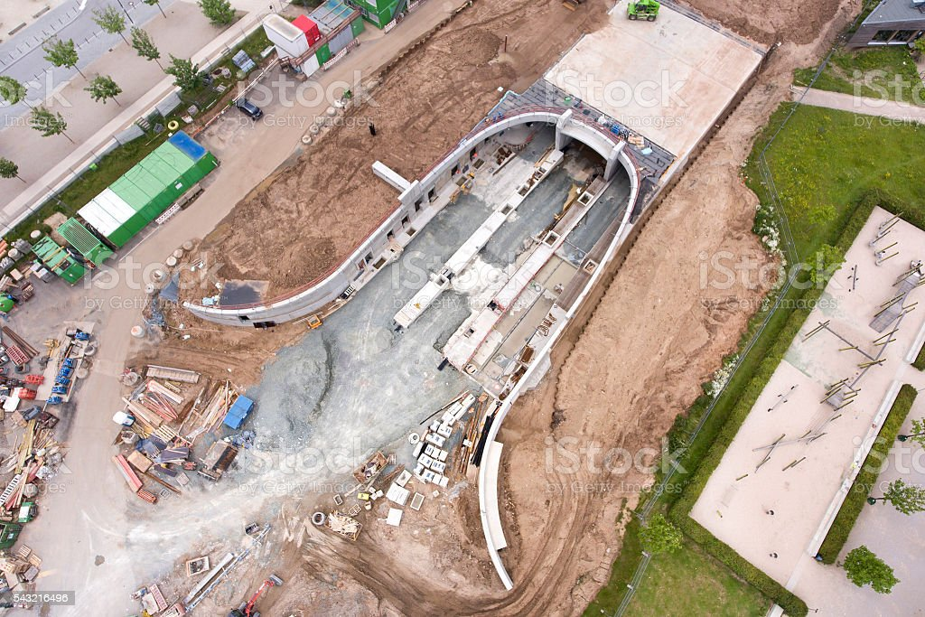 Aerial view construction site tunnel stock photo