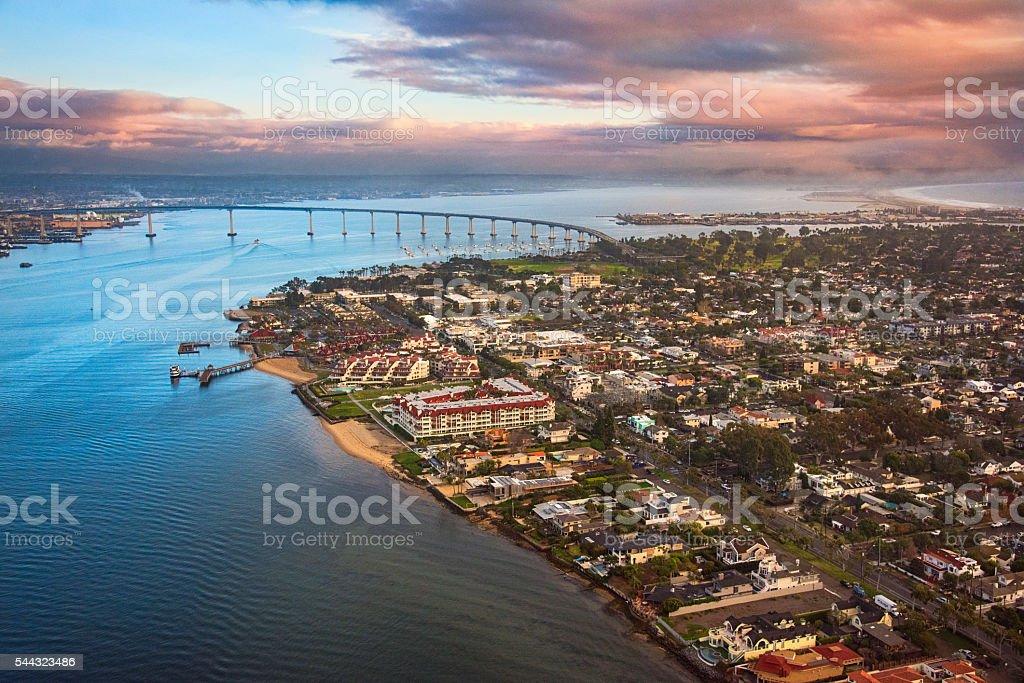 Aerial View Coronado Island at Dusk stock photo