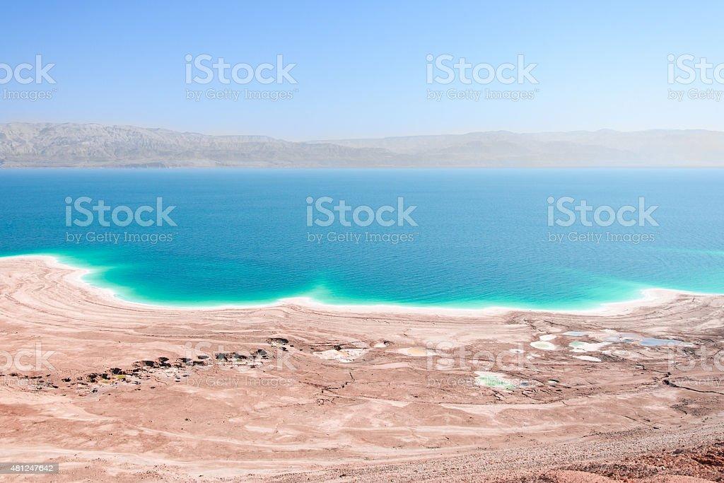 Aerial view Dead Sea coast landscape with therapeutic curative mud stock photo