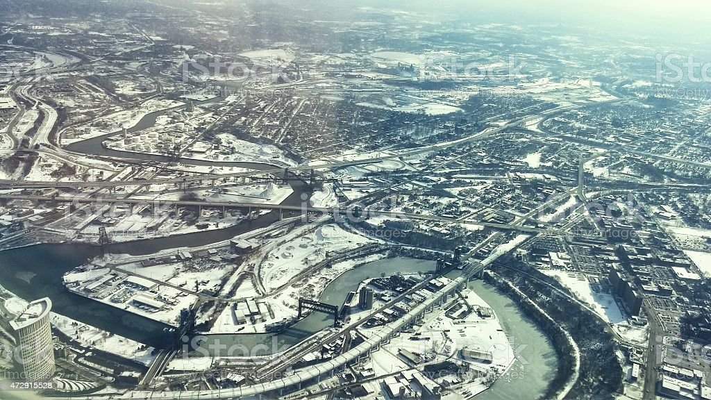 Aerial View Decending into Cleveland, Ohio with River stock photo