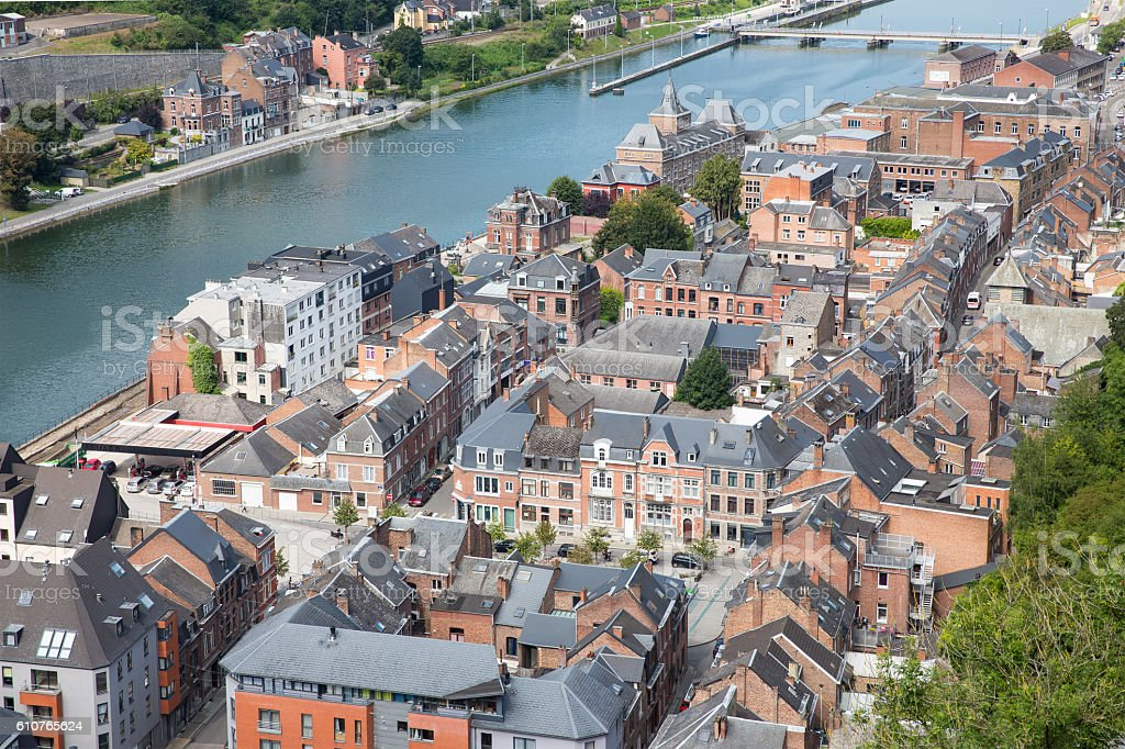 Aerial view Dinant along Meuse river in Belgium stock photo