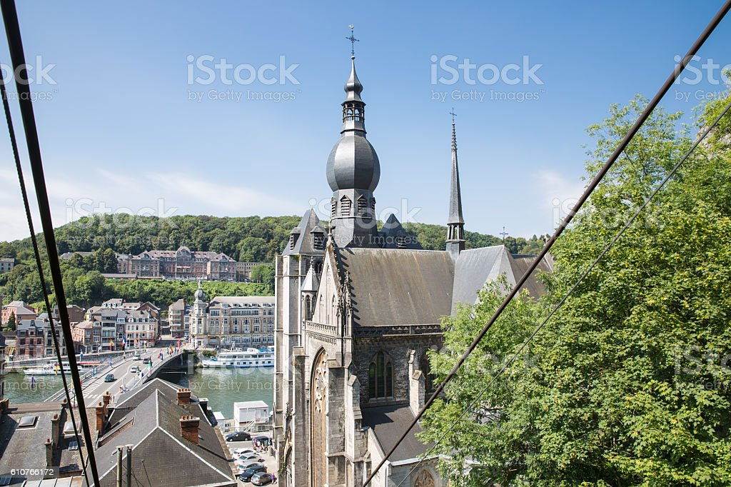Aerial view Dinant seen from cable car, Belgium stock photo