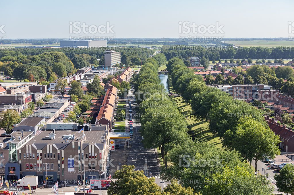 Aerial view downtown district Emmeloord, the Netherlands stock photo