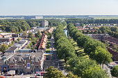 Aerial view downtown district Emmeloord, the Netherlands