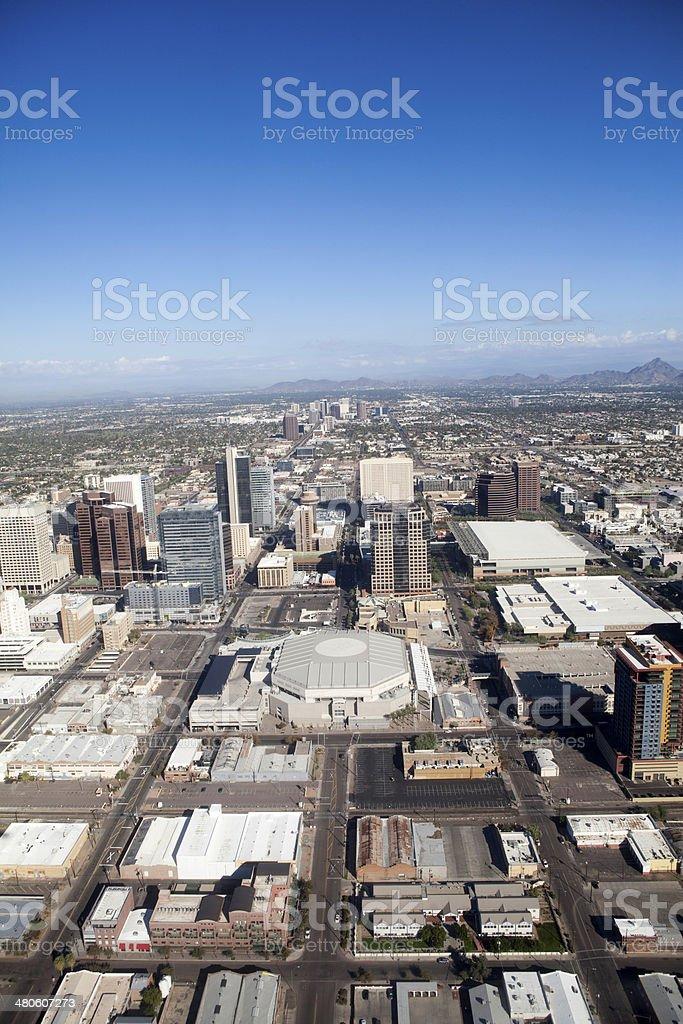 Aerial view downtown Phoenix, Arizona royalty-free stock photo