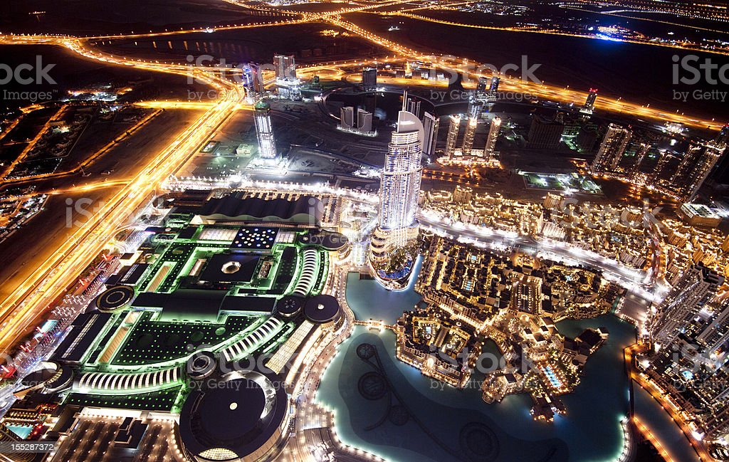 Aerial View Dubai City Skyline in the United Arab Emirates royalty-free stock photo