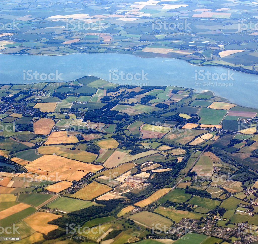 Aerial view English countryside stock photo