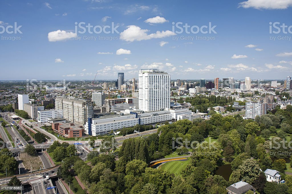 Aerial view Erasmus university hospital of Rotterdam, the Netherlands stock photo