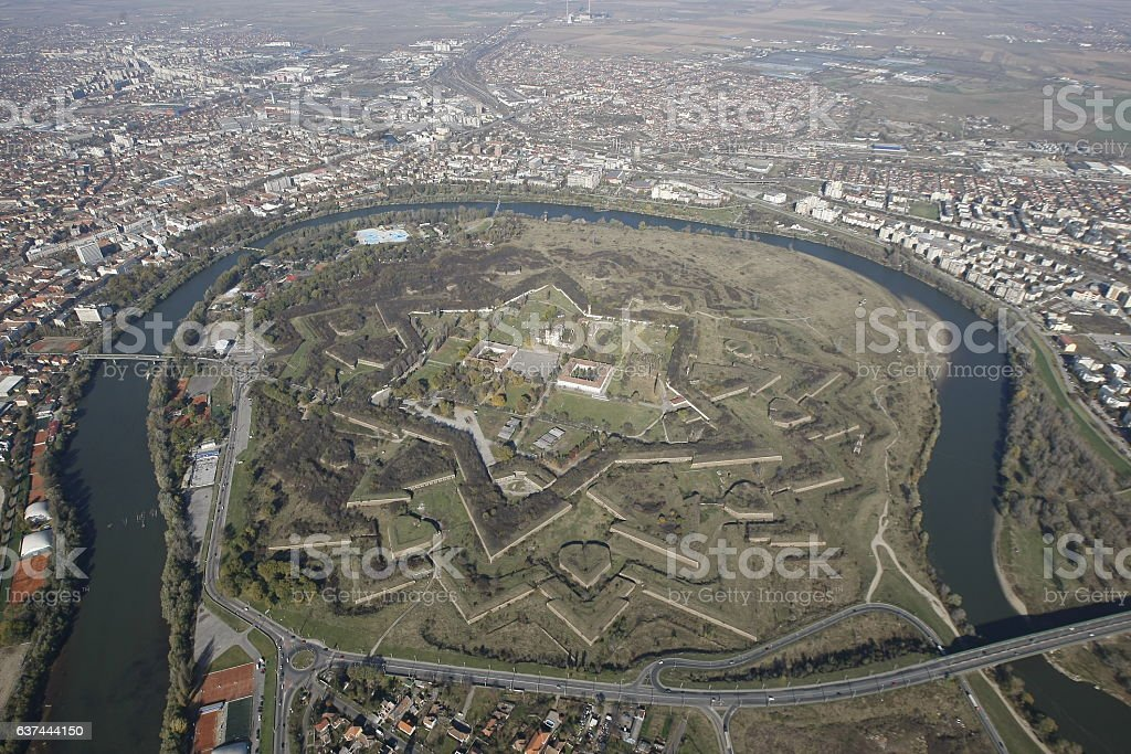Aerial view from a helicopter, of an vauban style stock photo