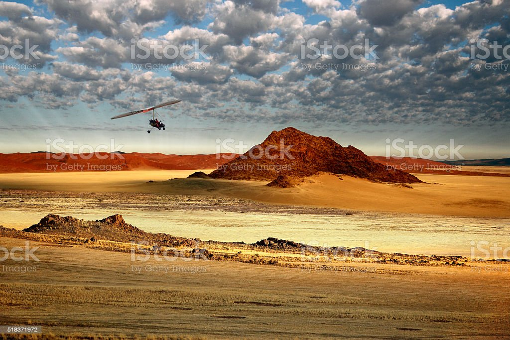 Aerial view from a Microlight - Sossusvlei area of Namibia stock photo