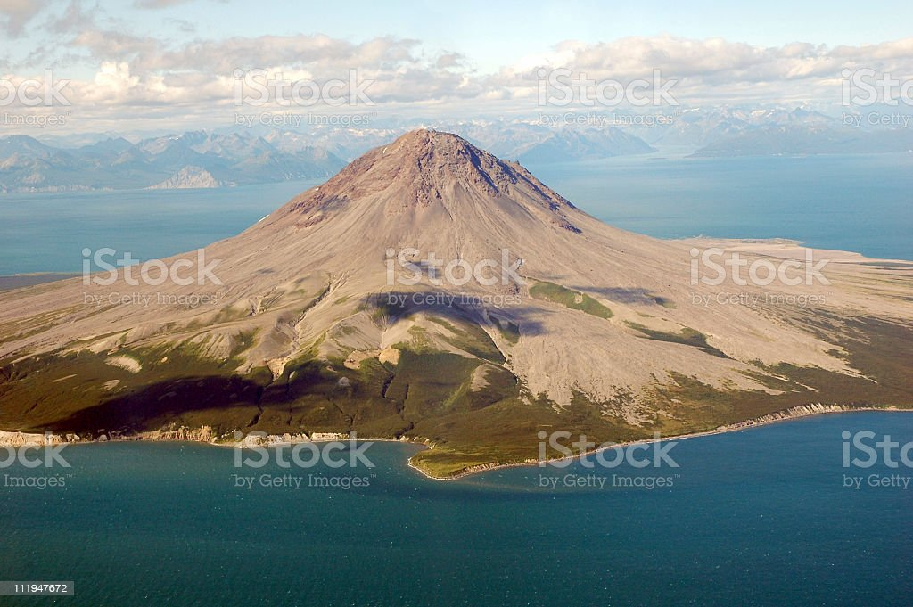 Aerial view from airplane on Augustine Volcano,Alaska,USA royalty-free stock photo