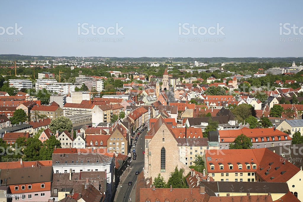 Aerial view from Augsburg in Bavaria royalty-free stock photo