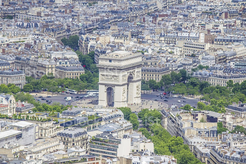 Aerial view from Eiffel tower. Arch de Triumph. stock photo