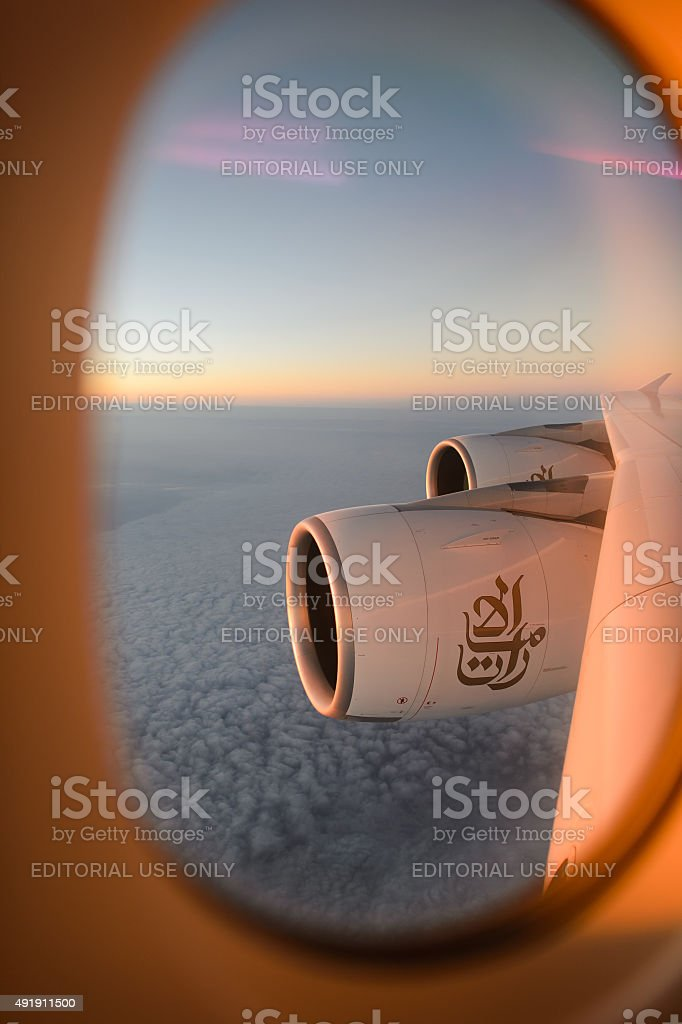 Aerial view from Emirates Airbus A380 stock photo