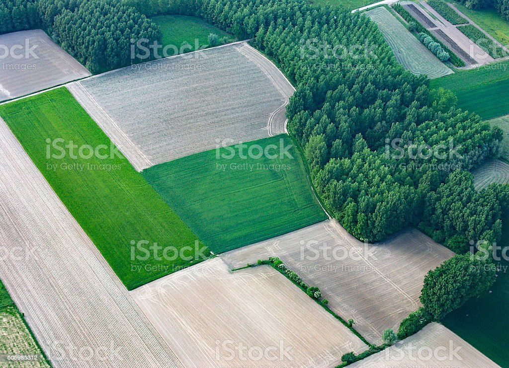 Aerial view from hot air balloon stock photo