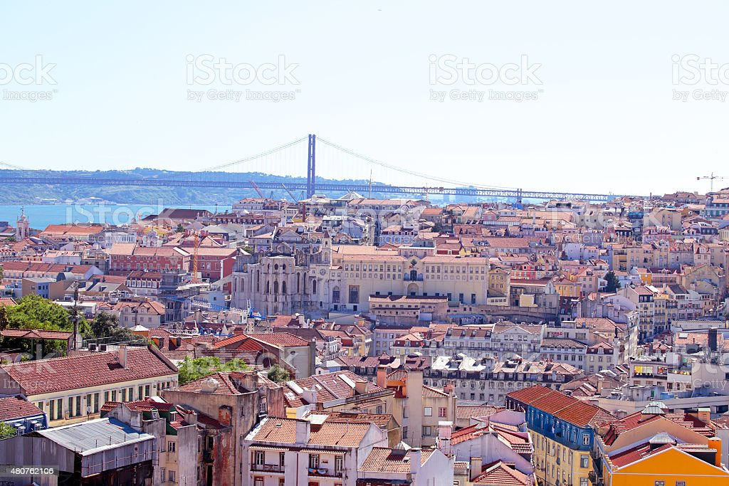 Aerial view from Lisbon in Portugal stock photo