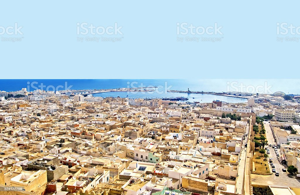 Aerial view from mediaval fortress,  Tunisia, Africa stock photo