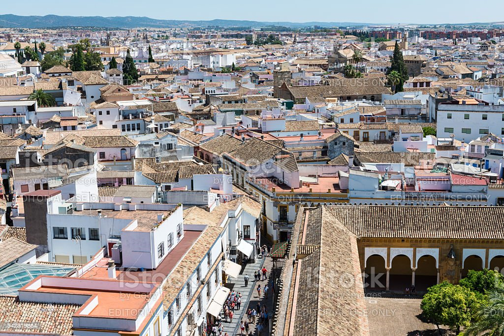 Aerial view from Mosque Cathedral in Cordoba stock photo