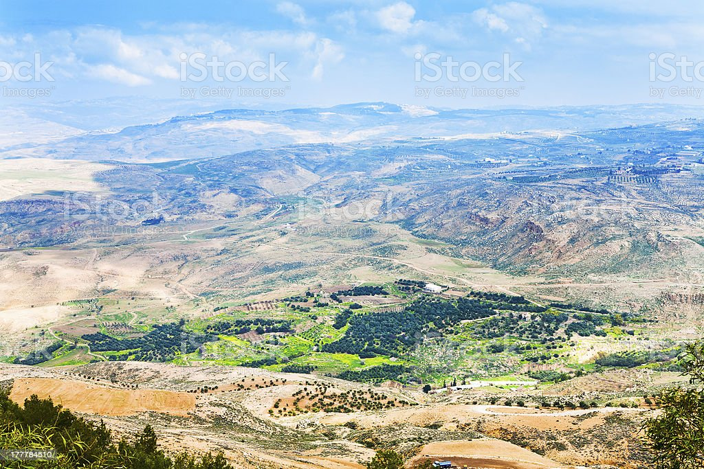 Aerial view from Mount Nebo in Jordan on a bright day stock photo