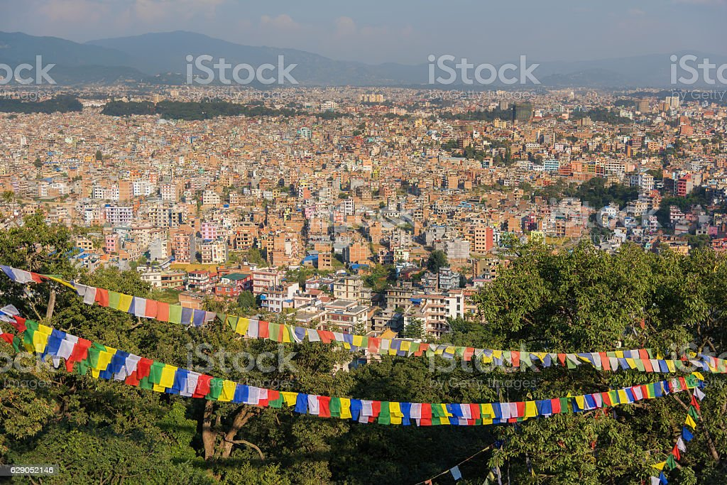 Aerial view from  Swayambhunath Stupa after the earthquake stock photo
