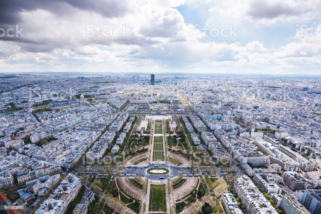 Aerial view from the Eiffel Tower in Paris stock photo