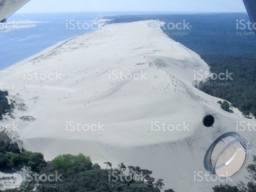 Aerial View from the pyla dune, the largest sand dune stock photo