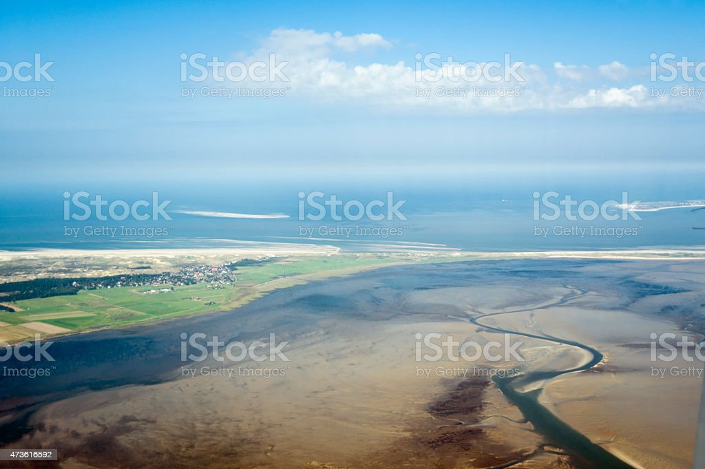 Aerial view from the Schleswig-Holstein Wadden Sea National Park stock photo