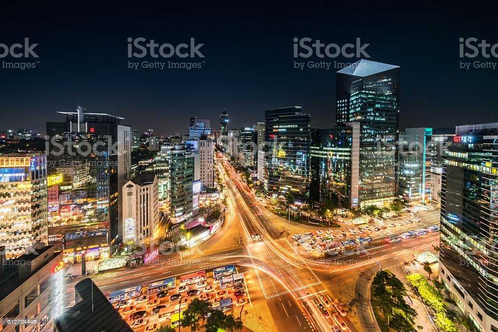 Aerial View Gangnam at Night Seoul Korea stock photo