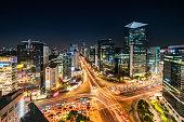 Aerial View Gangnam at Night Seoul Korea