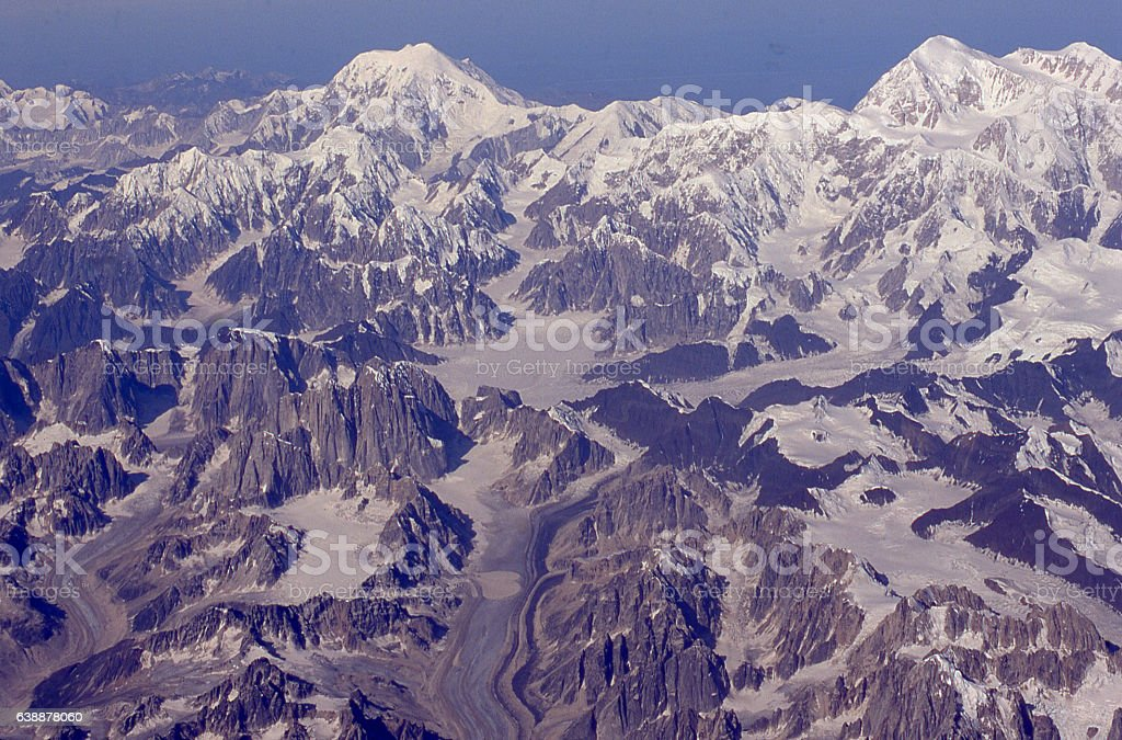 Aerial view glaciers and mountains in Denali National Park Alaska stock photo