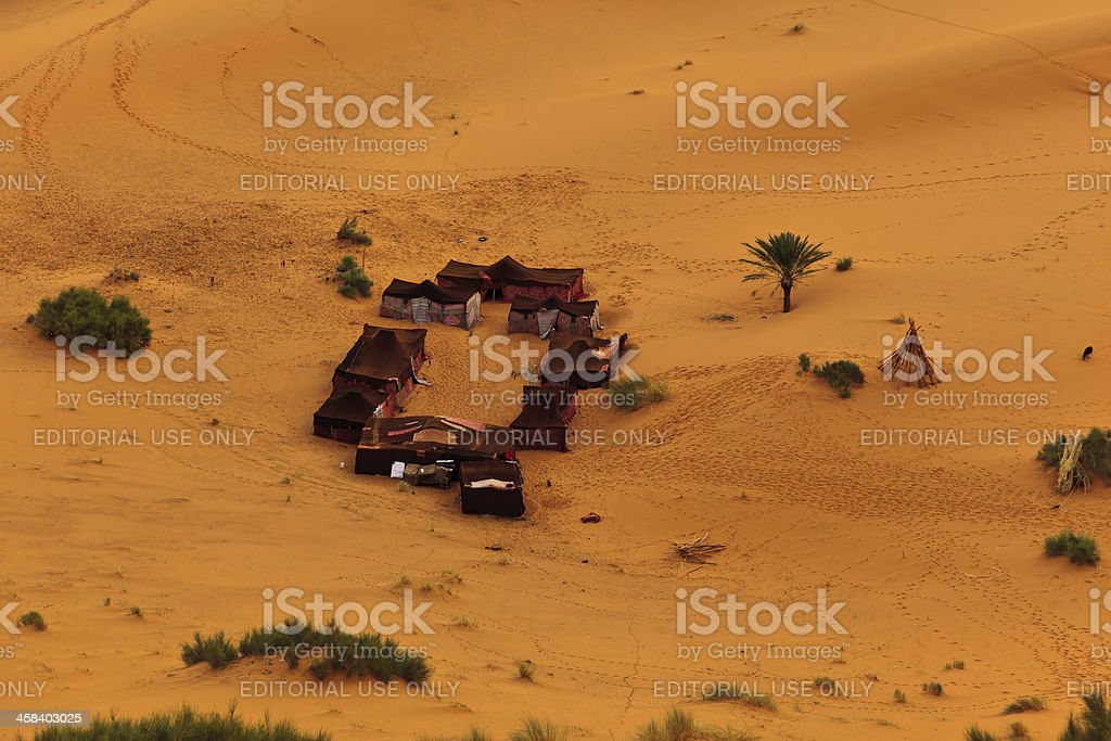 Aerial view group of Bedouin tents in Sahara Desert Morocco royalty-free stock photo