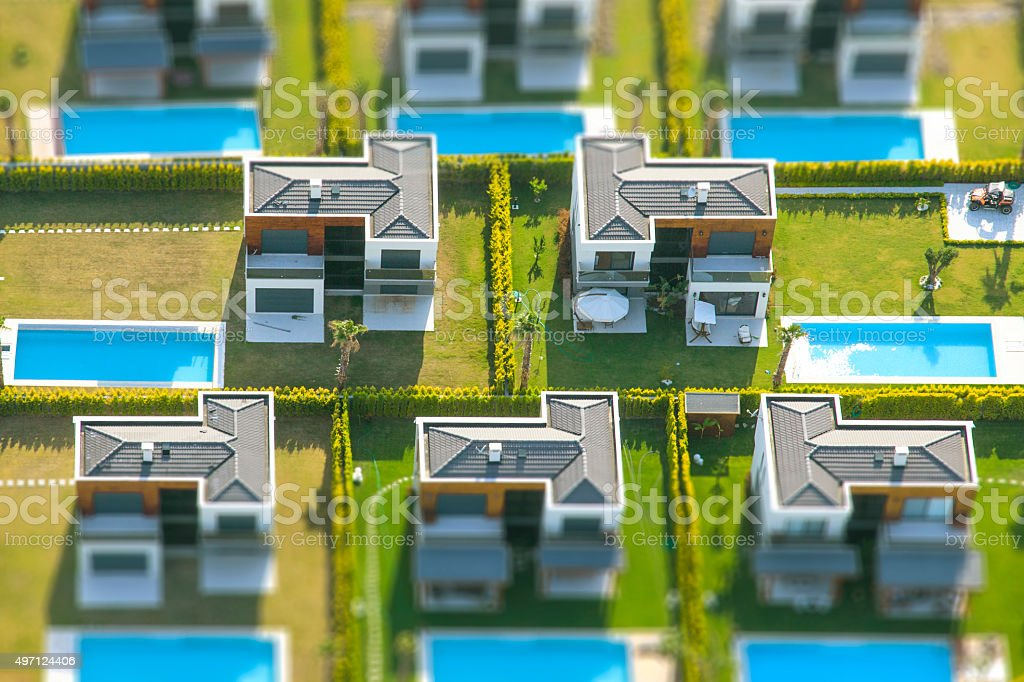 aerial view group of houses stock photo