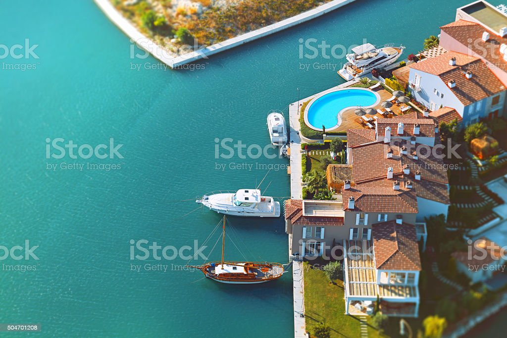 aerial view group of luxury houses stock photo