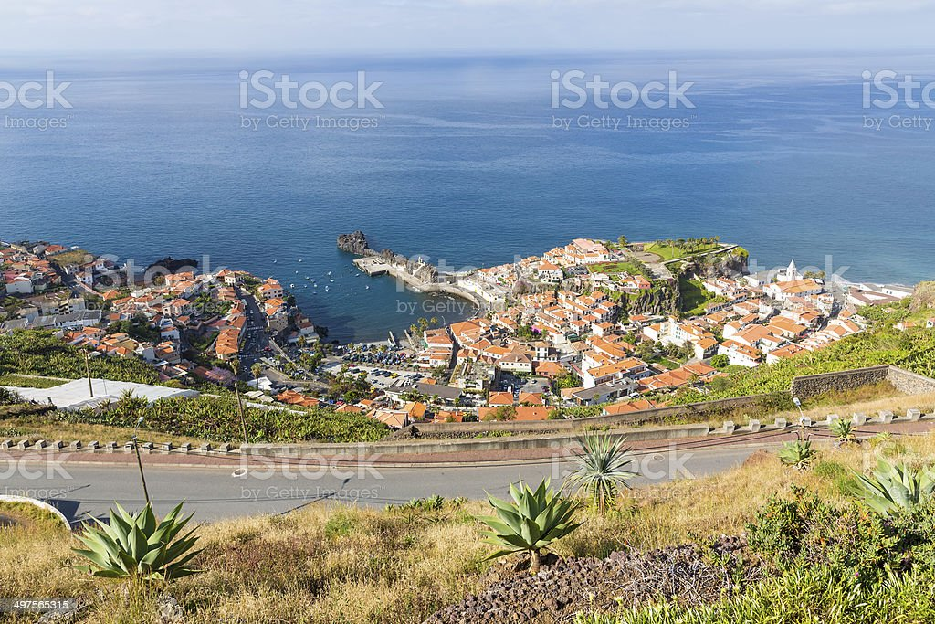 Aerial view harbor of Camara do Lobos at Madeira Island stock photo