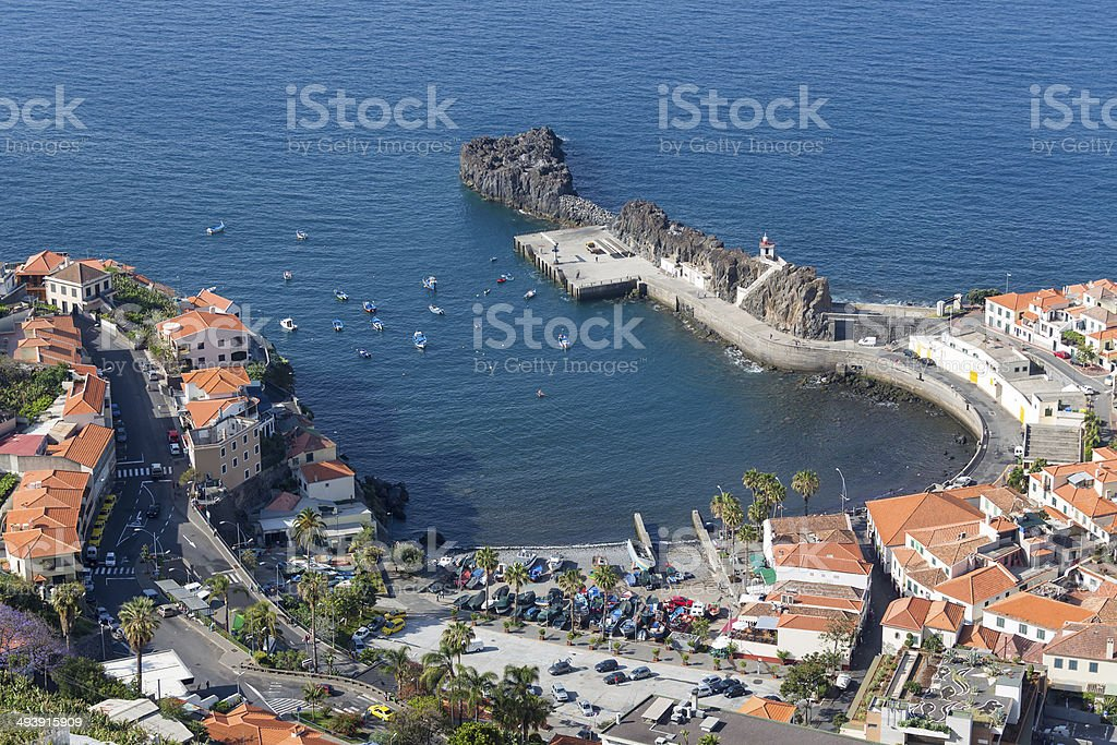 Aerial view harbor of Camara do Lobos at Madeira, Portugal stock photo