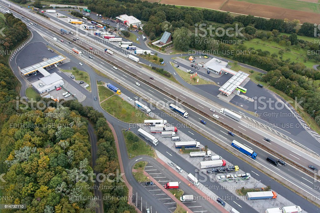 Aerial view highway A3 and rest area Medenbach stock photo