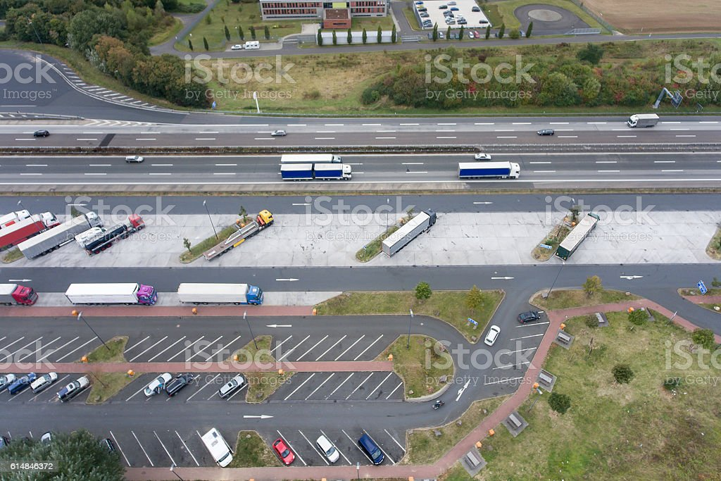 Aerial view highway and rest area stock photo
