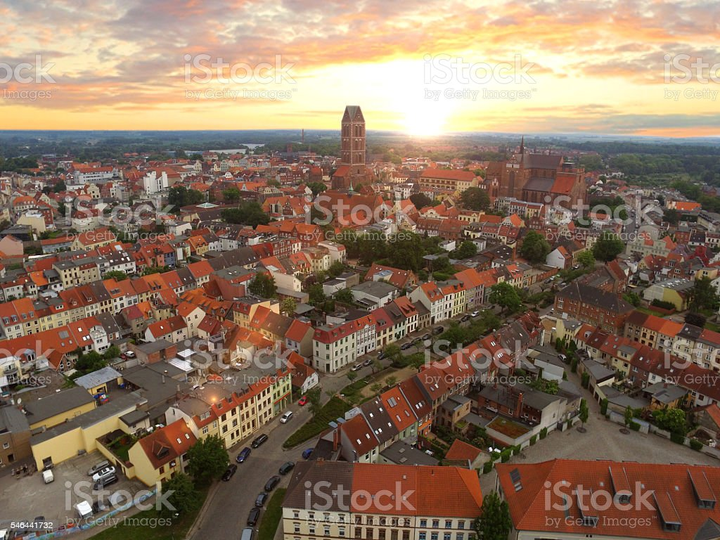 aerial view historic Hanseatic City of Wismar in sunset stock photo