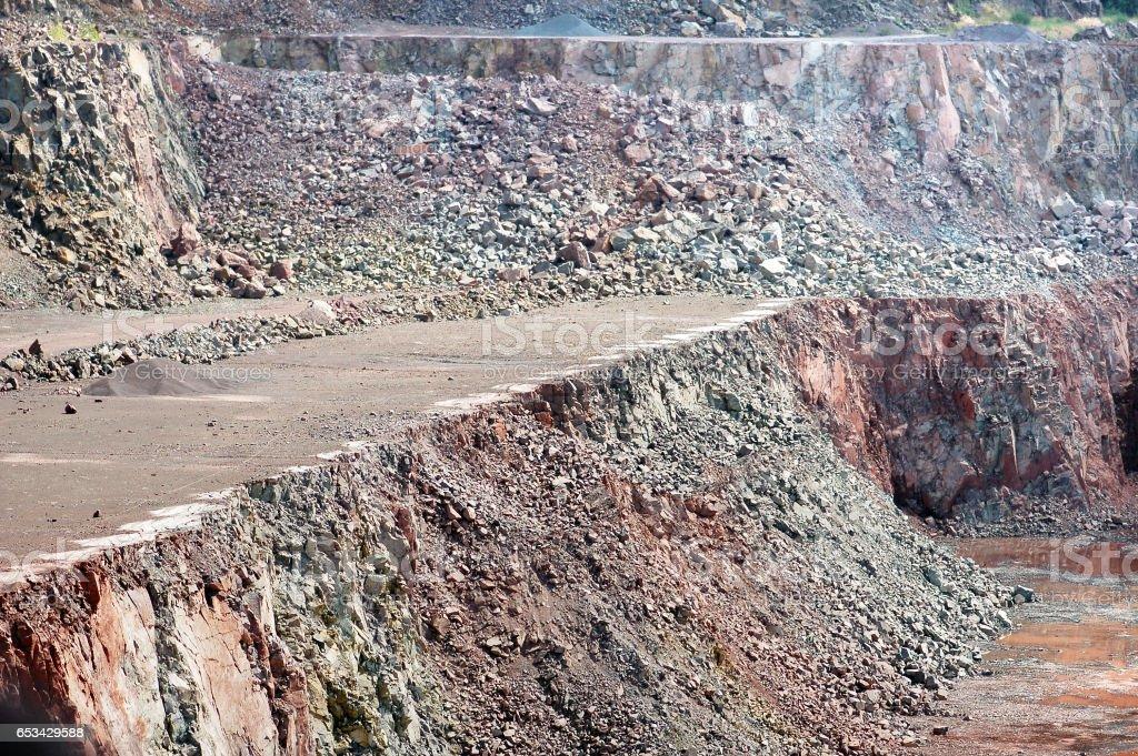 aerial view into a quarry mine. stock photo