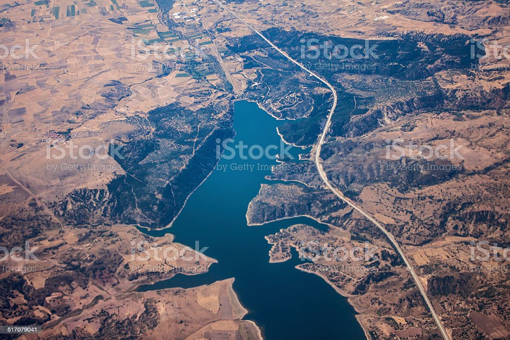 Aerial view Istanbul mountain and river stock photo