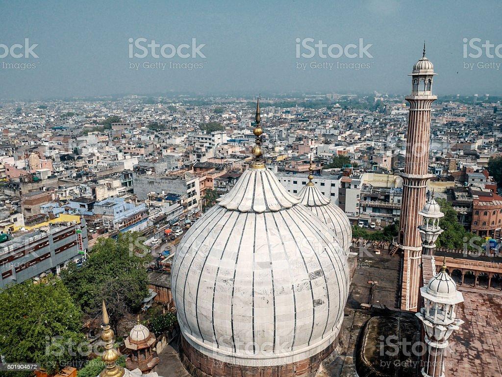 Aerial view Jama Masjid mosque Delhi India stock photo
