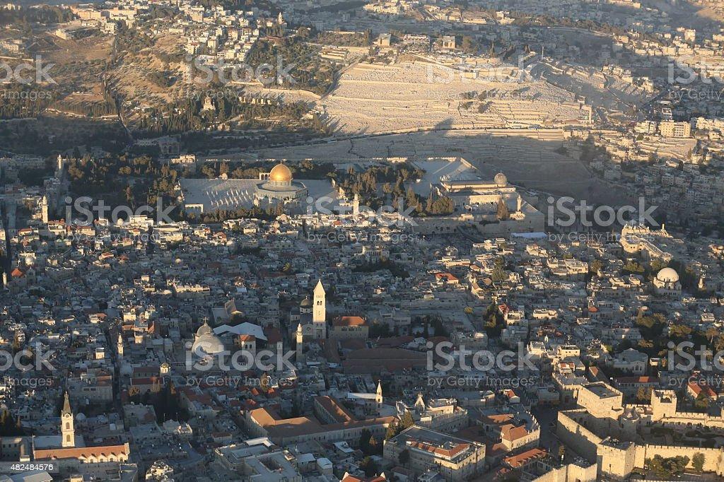 Aerial view Jerusalem stock photo
