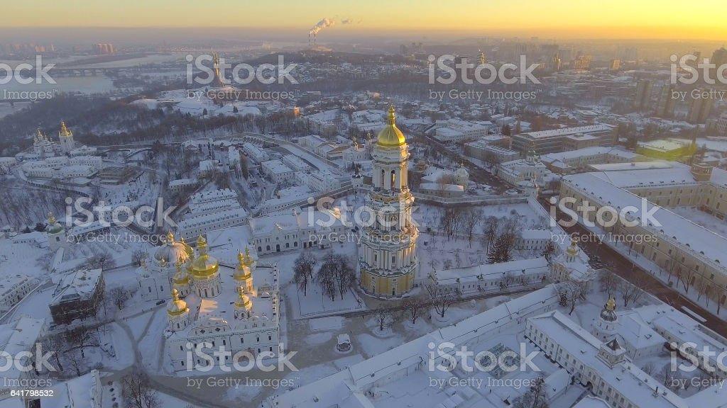 aerial view Kiev-Pechersk Lavra in winter, Kiev , Ukraine. stock photo