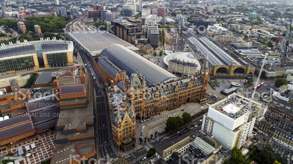 Aerial View Kings Cross and St Pancras Railway Stations in London stock photo