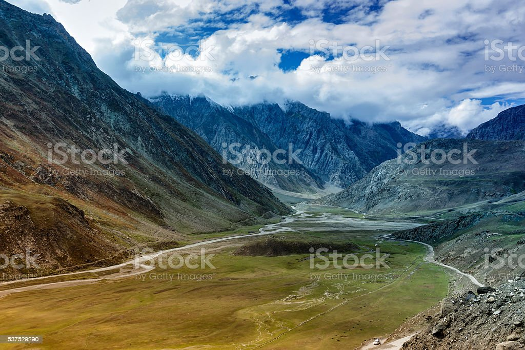 Aerial view, landscape of Ladakh, Jammu and Kashmir, India stock photo