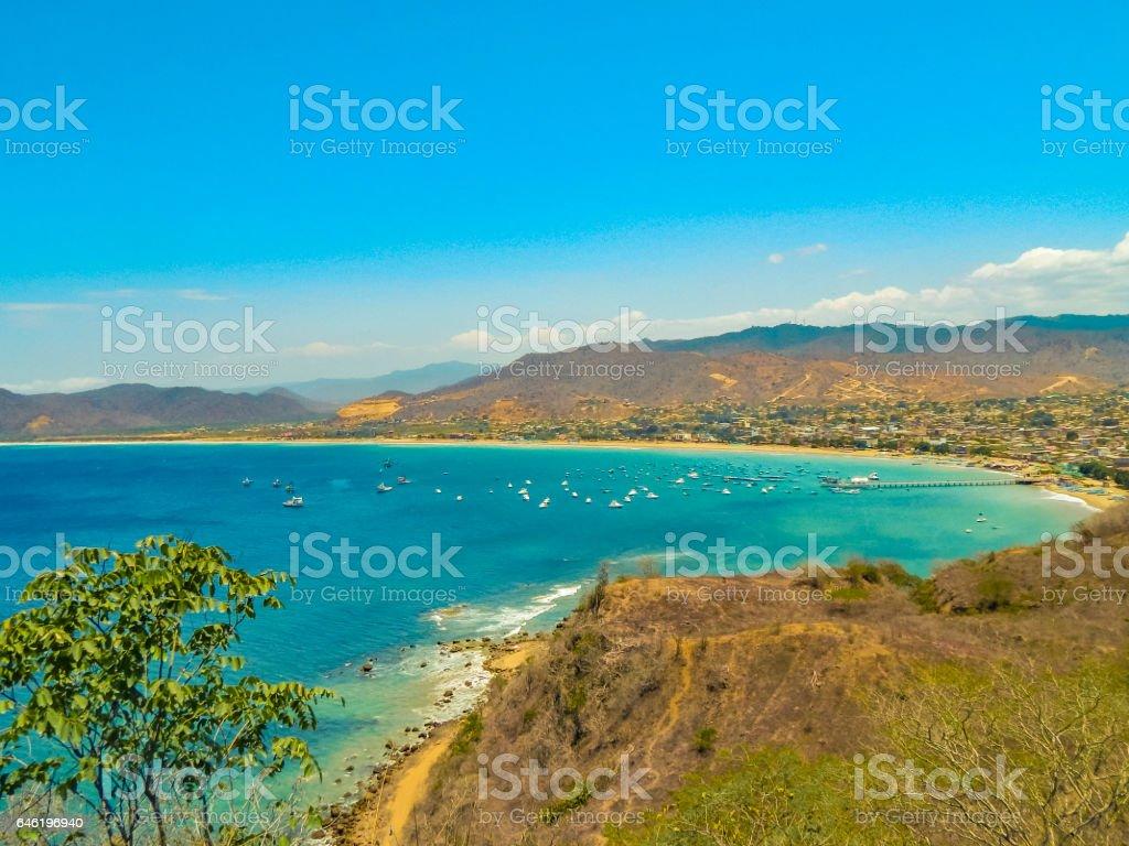 Aerial View Landscape Puerto Lopez Ecuador stock photo